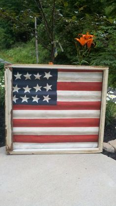 """""""Freedom Flag"""" made from Salvaged window and metal tin roofing"""