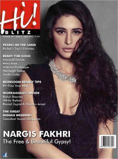 Nargis Fakhri on The Cover of Hi Blitz Magazine India July 2012. | Bollywood Cleavage