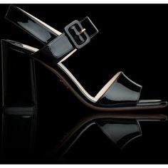 Prada PRADA Patent Leather Sandal ($620) found on Polyvore