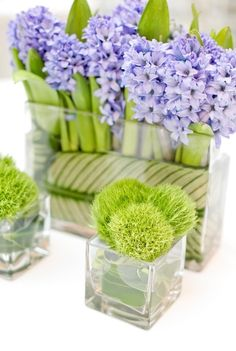 The green and purple of these centerpieces contrast perfectly.      Photo:  Jen Huang Photography