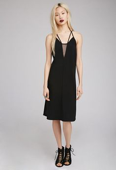 Mesh-Paneled Cami Dress | Forever 21 - 2000077355 //  dont know what size i need but i can dream