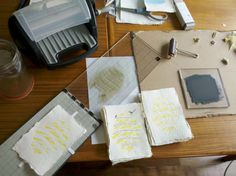 making our home made letter pressed wedding invitations... without a letter press :)