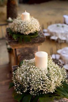20 Budget-Friendly Baby's Breath Wedding Centerpieces - New Sites Wedding Table Centerpieces, Flower Centerpieces, Flower Arrangements, Wedding Decorations, Table Decorations, Wheat Centerpieces, Communion Centerpieces, Centerpiece Ideas, First Communion Decorations