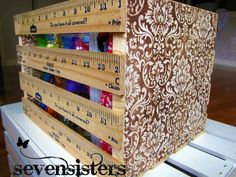 Storage crate made out of yard sticks. **I would make the yard sticks go all the way around. Vintage Wood Crates, Yard Sticks, Wooden Ruler, Crate Storage, Storage Ideas, Cheap Storage, Storage Bins, Diy Storage, Great Teacher Gifts