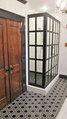 Gridscape shower door as part of master bathroom renovation by Atlanta General Contractor, Penn Carpentry #Gridscape #renovation