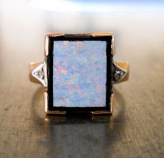 I'm so depressed that I can't have this.  Antique Art Deco Diamond Opal and Onyx Ring