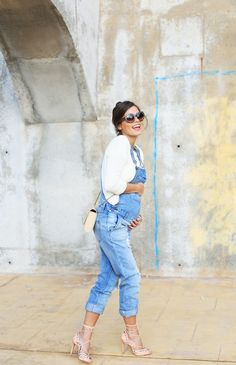 Overalls + lace up nude pumps