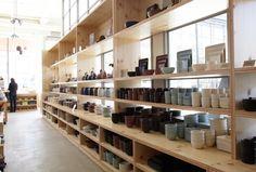 Plywood shelving we saw at new Heath Ceramics location in San Francisco.