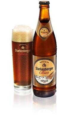 GoldSpezial dunkel - Starkenberger Bier Tirol  GoldSpezial dunkel ist ein 13grädiges Bier. Es wird aus geröstetem Malz gebraut, hoch vergoren und ist daher süßlich. #Starkenberger #Bier #Tirol Beer Bottle, Whiskey Bottle, Stark, Package Design, Gold, Drinks, Brewing, Darkness, Beer