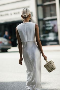$20 - $200 Minimalist Simple Blogger Street Style Chic White Sleeveless Midi Dress Gold Statement Hoop Earrings Street Style Summer Spring Tumblr