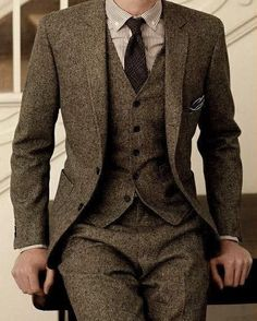 Brown Tweed Suit Slim Fit Wedding Suits 3 Piece