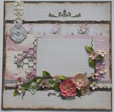 Shabby Chic Scrapbook Page. Vintage