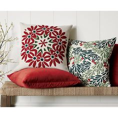"""Mistletoe 18"""" Holiday Pillow with Down-Alternative Insert in Decorative Pillows   Crate and Barrel"""