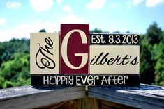 Personalizable Last Name/Wedding Date wooden block by WoodenBlock, $25.00