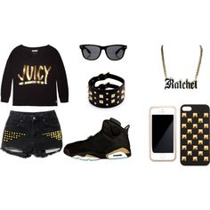 """Gold and black"" by nneuphtalie on Polyvore"