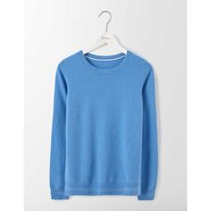 Boden Cashmere Crew Neck Sweater ($150) ❤ liked on Polyvore featuring tops, sweaters, boden, crew-neck tops, blue sweater, crew neck tops and blue crewneck sweater