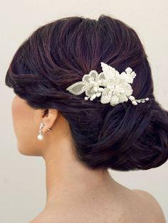 Hair Comes the Bride - Beaded Flower Bridal Hair Clip ~ Charlie, $76.00 (http://www.haircomesthebride.com/beaded-flower-bridal-hair-clip-charlie/)