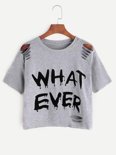 Shop Grey Letter Print Ripped T-shirt online. SheIn offers Grey Letter Print Ripped T-shirt & more to fit your fashionable needs. Destroyed T Shirt, Distressed Tee, Jeans And Sneakers, Personalized T Shirts, Moda Online, Spandex Material, Custom T, Summer Tops, Plus Size Tops