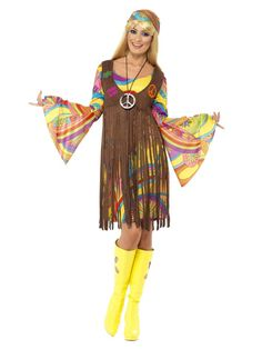 Add some flower power to your next party in this Groovy Lady Womens costume. This great hippie costume includes a psychadelic print dress, printed waistcoat and matching headband. Sway along to the rhythmic tunes of the Peace baby. Costume Année 70, 1960s Costumes, Adult Costumes, Costumes For Women, Halloween Costumes, Carnival Costumes, Vampire Costumes, Party Costumes, Funny Costumes
