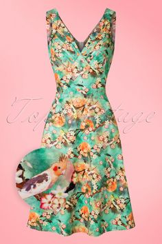 Summer is coming; make sure this 50s Lizabeth Floral Swing Dress is hanging in your closet! If you think about summer, you think about colour. If you think about colour, you think about Lizabeth! Typically fifties due to her pleated bust and elegant row of faux buttons but the real eyecatcher is the breathtakingly beautiful, colourful print, wow! Made from a smooth, soft fabric with a light stretch for a lovely, comfortable fit. Have a colourful summer with Lizabeth!    Semi...