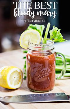 The Best Bloody Mary - My Newest Addiction Best Bloody Mary Recipe, Bloody Mary Recipes, Summer Drinks, Fun Drinks, Beverages, Alcoholic Drinks, Vodka Cocktails, Cocktail Drinks, Mixed Drinks