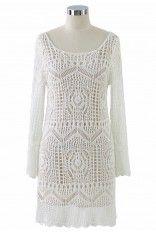 Mesh Knit Crochet White Dress - Retro, Indie and Unique Fashion.    love!