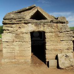 This is an Etruscan tomb in Tuscany and it shows the structure of Etruscan architecture.