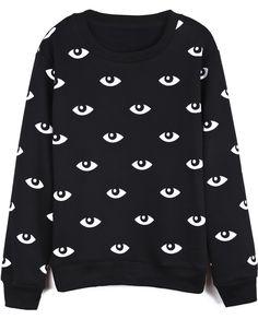 Sheinside Black Long Sleeve Eyes Print Loose Sweatshirt US$25.39