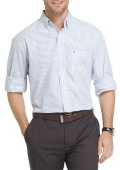 34256f032f4 IZOD Big   Tall Long Sleeve Essential Tattersall Woven Shirt