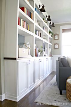 Built In Cabinets Living Room - Built In Cabinets Living Room, How to Create Custom Built Ins with Kitchen Cabinets Unfinished Kitchen Cabinets, Used Kitchen Cabinets, Stock Cabinets, Kitchen Shelves, Diy Kitchen, Ikea Cabinets, Kitchen Ideas, Kitchen Living, Kitchen Decor