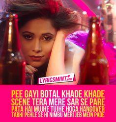 "Chhote Chhote Peg Lyrics: Yo Yo Honey Singh's song from Ranjan's film Sonu ke Titu ki Sweety. The song ""Chote Chote Peg"" is sung by Neha Kakar & Navraj Hans. Music Mood, Any Music, Music Is Life, Song Lyric Quotes, Song Lyrics, Disco Songs, Yo Yo Honey Singh, Me Too Lyrics"