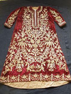 19 th Antique Ottoman Velvet Embroidered Bindalli Gold Metallic Thread Large Big