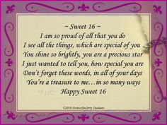 Happy Sweet 16 Birthday Poems