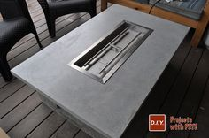 Learn how to make an outdoor gas fireplace. Detailed Video tutorial, photos, and plans.This is a high end looking fireplace made out of concrete!