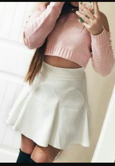 Pink top and white skirt