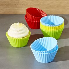 Set of 12 Multicolor Silicone Baking Cups   Crate and Barrel