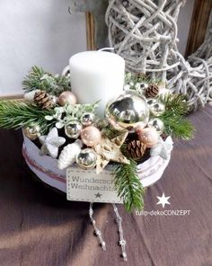 Advent wreath - Advent wreath - a unique product by tulip-dekoCONZEPT at DaWan . - Advent wreath – Advent wreath – a unique product by tulip-dekoCONZEPT on DaWanda - Christmas Advent Wreath, Cosy Christmas, Woodland Christmas, Christmas Candles, Christmas Centerpieces, Xmas Decorations, All Things Christmas, Handmade Christmas, Christmas Time