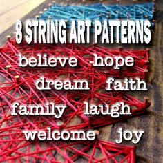8 Patterns -STRING ART PATTERNS You will receive 8 String Art Patterns - Each Word is Done In Typewriter Style Font FOLLOWING ARE APPROXIMATE SIZES FOR EACH PATTERN believe 24x6 dream 22x7 faith 20x6 family 15x6 hope 19x7.5 joy 15x8 laugh 25x8 welcome 30x6 THIS LISTING IS FOR DIGITAL PATTERN FILES ONLY - NO PHYSICAL PRODUCT WILL BE MAILED TO YOU. Your template will be available immediately after payment to download as a PDF. Once purchased, you will be able to access your download from yo...