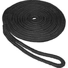 SeaSense Double Braid Nylon Dock Line, 1/2 inch x 35', 12 inch Eye, Black