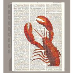 LOBSTER   ARTWORK  printed on Repurposed Vintage by RococcoCo, $9.95