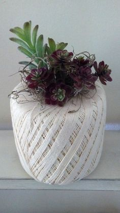 mini succulents in spool of thread https://www.facebook.com/AVintageWren