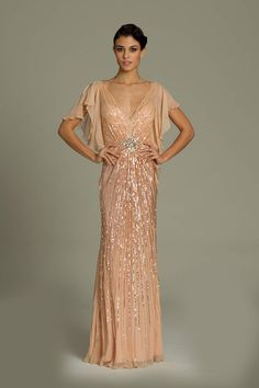 V-Neck Sequin Jovani Gown