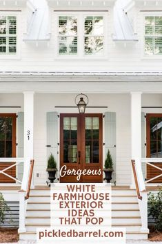 I've got 11 modern farmhouse exterior ideas for you. (How many could you possibly need?!!) #pickledbarrelblog #farmhouseexteriors #modernfarmhouse White Farmhouse Exterior, Coastal Farmhouse, Farmhouse Homes, Coastal Cottage, Coastal Homes, Modern Farmhouse, Farmhouse Style, Modern Coastal, Coastal Decor