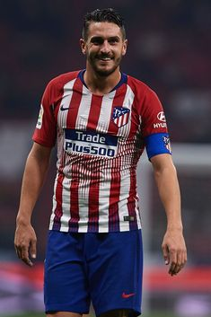 MADRID, SPAIN - DECEMBER 05: Koke Resurreccion of Atletico de Madrid reacts during the Spanish Copa del Rey second leg match between Atletico de Madrid and Sant Andreu at Estadio Wanda Metropolitano on December 05, 2018 in Madrid, Spain. (Photo by Quality Sport Images/Getty Images) Cristiano Ronaldo Lionel Messi, Sports Images, Football Soccer, Superstar, First Love, Boys, Legends, Mens Tops, Nike