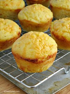 An easy recipe for cheesy Garlic Cheddar Cornbread Muffins, takes 10 mintues to prepare! | alidaskitchen.com