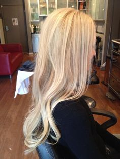 Multi blonde highlights with full head of Hotheads Extensions By Stylist Leah Villagran