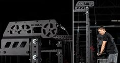 The rack-mounted Monster Lite Slinger™ is a cable-pulley and band resistance system that can deliver the same training benefits of a traditional stand-alone Lat Pulldown Machine in a more space-efficient and cost-efficient format. Crossfit Equipment, Home Gym Equipment, Lat Pulldown Machine, Gym Rack, Pulley, Smith Machine, Rogue Fitness, Thing 1, Power Rack