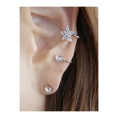 Rhinestone Embellished Star Ear Cuff and Stud Earring (6,29 BRL) ❤ liked on Polyvore featuring jewelry, earrings, star jewelry, star ear cuff, star earrings, ear cuff jewelry and stud earrings