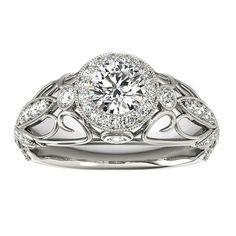 Transcendent Brilliance 14k White, Rose Or Yellow Gold 1 1/3ct TDW White Diamond Antique Style Engagement Ring (F-G, VS1-VS2) (White - Size 9), Women's