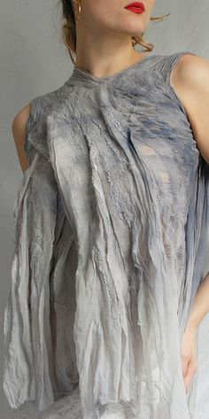 Nuno Felted Fashion - lightweight fabric design in pale grey & blue tones with surface texture detail // Vilte Felt #textiles